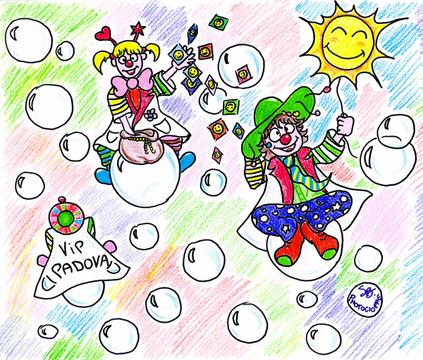 clown e bolle di sapone